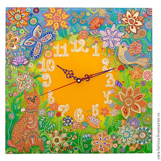 """Часы для дома ручной работы. Ярмарка Мастеров - ручная работа. Купить """"А в городе том сад"""" Часы настенные в детскую. Handmade."""