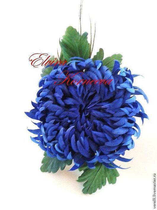 """Броши ручной работы. Ярмарка Мастеров - ручная работа. Купить Цветы из шелка. Хризантема """"Голубая лагуна"""". Handmade. Брошь, утренник"""