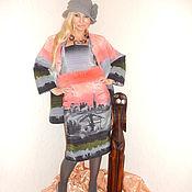 Одежда ручной работы. Ярмарка Мастеров - ручная работа костюм теплый( платье+пальто)-Жемчужный рассвет. Handmade.