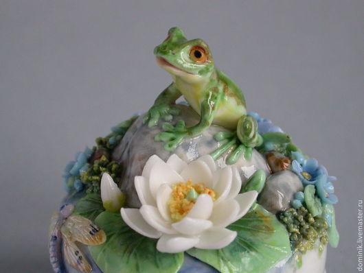 """Шкатулки ручной работы. Ярмарка Мастеров - ручная работа. Купить шкатулочка """"Озеро"""". Handmade. Шкатулка, цветы из фарфора, краски по фарфору"""