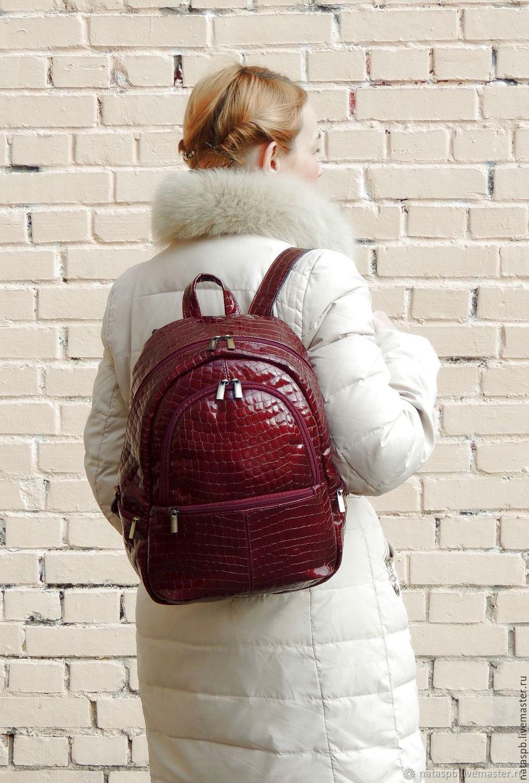 37a4dae2d669 Burgundy women s leather backpack  Beaujolais . Natalia Kalinovskaya. My Livemaster  Backpacks handmade.