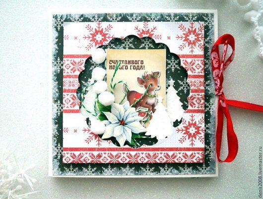 Открытки к Новому году ручной работы. Ярмарка Мастеров - ручная работа. Купить новогодняя открытка-фоторамка. Handmade. Комбинированный, красный