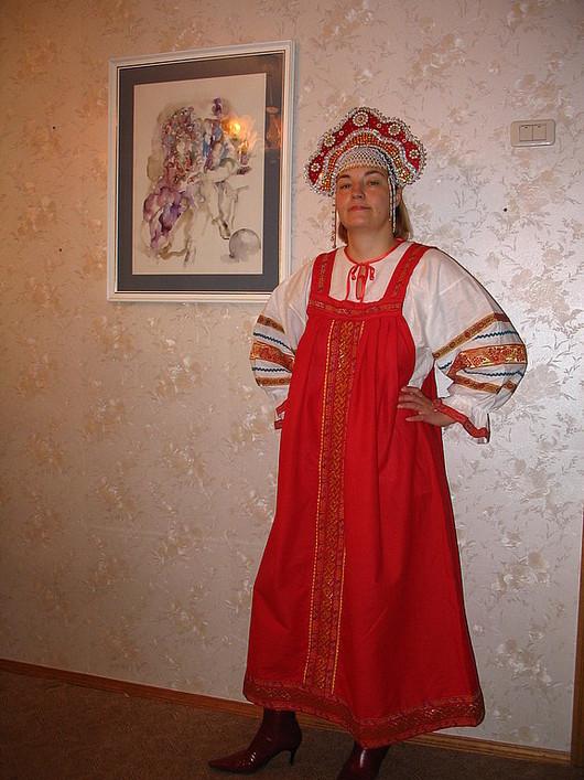 Одежда ручной работы. Ярмарка Мастеров - ручная работа. Купить Русский народный сарафан с  рубахой. Handmade. Русский костюм, габардин