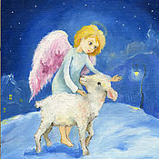 Картины и панно handmade. Livemaster - original item Christmas, the angel and the Lamb Canvas oil 17na18cm. Handmade.