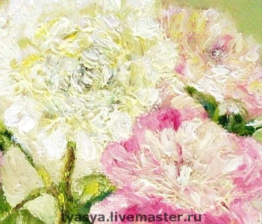 """Картины цветов ручной работы. Ярмарка Мастеров - ручная работа. Купить """"Пионы"""". Handmade. Кремовый, цветы, подарок, масло"""