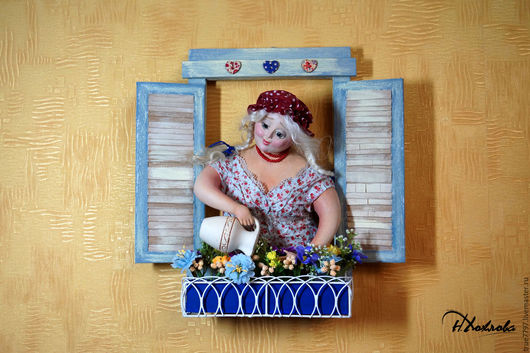 Коллекционные куклы ручной работы. Ярмарка Мастеров - ручная работа. Купить Анютина радость. Handmade. Голубой, коллекционная кукла