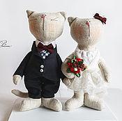 Тильда Зверята ручной работы. Ярмарка Мастеров - ручная работа Влюбленные коты. Handmade.