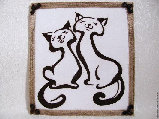 """Животные ручной работы. Ярмарка Мастеров - ручная работа. Купить Картина-панно из молотого кофе """"Котики"""". Handmade. Комбинированный"""