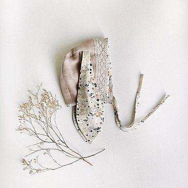 Одежда ручной работы. Ярмарка Мастеров - ручная работа Чепчик с ушками (лён/хлопок). Handmade.