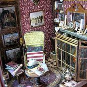 """Куклы и игрушки ручной работы. Ярмарка Мастеров - ручная работа Миниатюра в стопке книг  """"Комната Шерлока Холмса и доктора Ватсона"""". Handmade."""