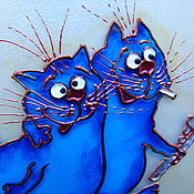Pictures handmade. Livemaster - original item Stained glass painting Laborers. Blue cats by Rina, Sanuk. Free shipping. Handmade.