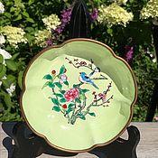 Винтаж handmade. Livemaster - original item Plate cloisonne Bird, handmade, China. Handmade.