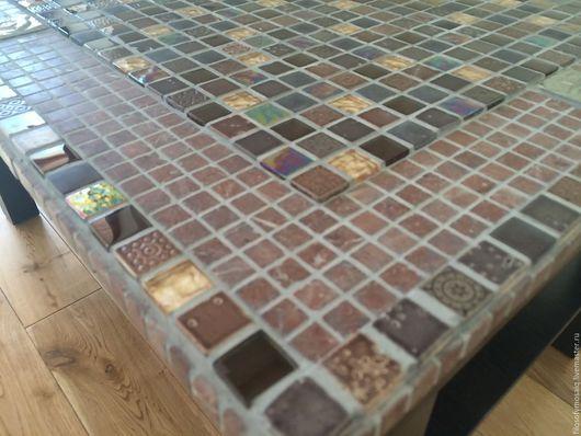 Мебель ручной работы. Ярмарка Мастеров - ручная работа. Купить Стол декорированный мраморной, стеклянной и металической мозаикой. Handmade. Комбинированный