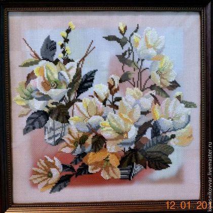 """Картины цветов ручной работы. Ярмарка Мастеров - ручная работа Вышивка крестиком """"Дуэт"""". Handmade."""