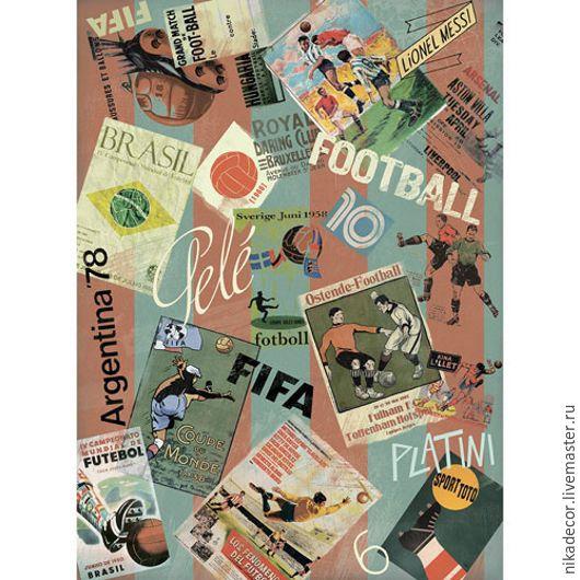 Декупаж и роспись ручной работы. Ярмарка Мастеров - ручная работа. Купить Футбольные новости (CP05622) - рисовая бумага, А3. Handmade.