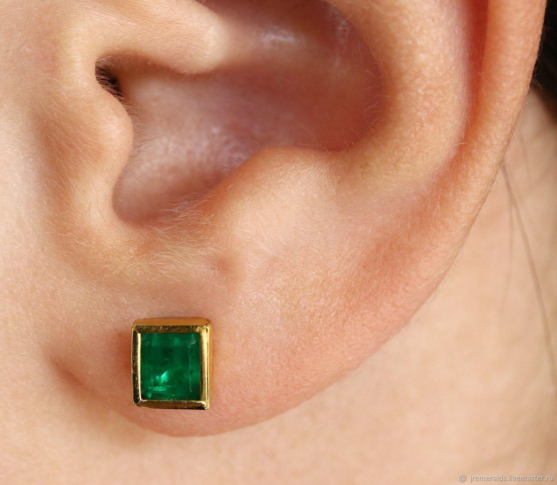 6e77b2883 Earrings handmade. Livemaster - handmade. Buy 18K Angelina Jolie Emerald  Earrings,Emerald Bezel ...