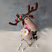 Куклы и игрушки handmade. Livemaster - original item Moose with flowers toy for interior decoration. Handmade.