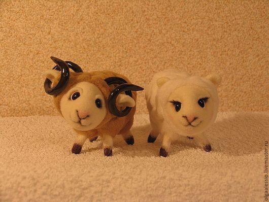 Игрушки животные, ручной работы. Ярмарка Мастеров - ручная работа. Купить Боря и Нюра. Handmade. Войлочная игрушка, овечка, барашки