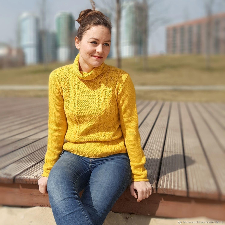 Желтый свитер с листочками, ажурный свитер, Свитеры, Москва,  Фото №1