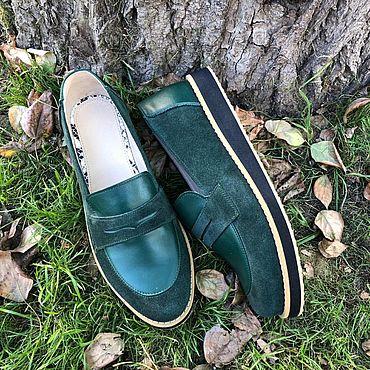 Обувь ручной работы. Ярмарка Мастеров - ручная работа Туфли Лодочки View зеленая замша/зелёная кожа. Handmade.