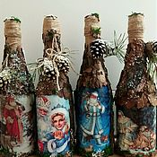 """Бутылки ручной работы. Ярмарка Мастеров - ручная работа Декор (украшение)бутылок """"Волшебство нового года и Рождества"""". Handmade."""