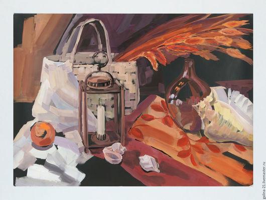 """Натюрморт ручной работы. Ярмарка Мастеров - ручная работа. Купить Натюрморт с колосьями и ракушками """"Белое золото"""". Handmade. Картина, гуашь"""