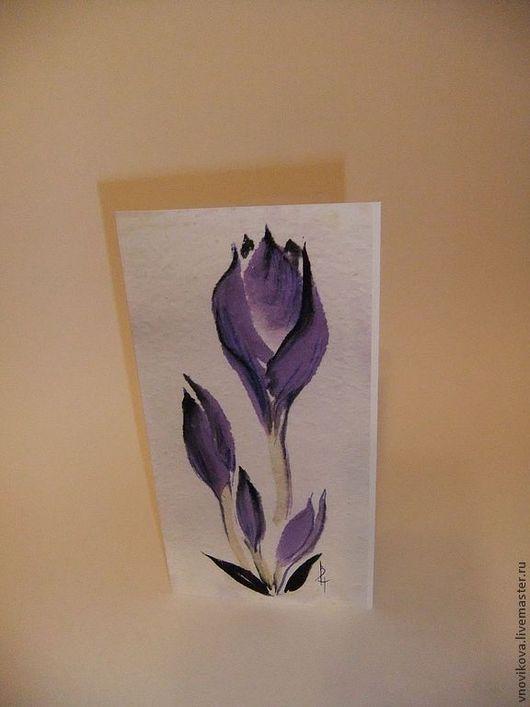"""Открытки на все случаи жизни ручной работы. Ярмарка Мастеров - ручная работа. Купить поздравительная открытка """" Крокусы """". Handmade."""