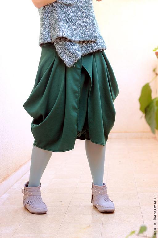 Брюки, шорты ручной работы. Ярмарка Мастеров - ручная работа. Купить Юбка-брюки для любительниц Бохо Зеленые. Handmade. бохо