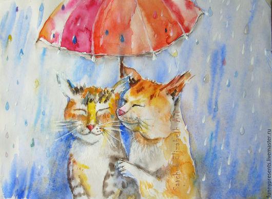 Животные ручной работы. Ярмарка Мастеров - ручная работа. Купить Акварель Дождик, зонтик и маленький секрет. Кошки. Для детской.. Handmade.