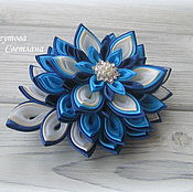 Украшения handmade. Livemaster - original item Hairpin machine with a flower of satin ribbons Blue moon. Handmade.