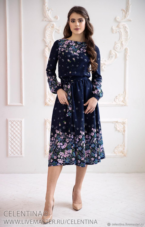 6bbbf80868f Платья ручной работы. Ярмарка Мастеров - ручная работа. Купить Темно синее Летнее  платье.