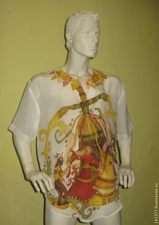 """Одежда ручной работы. Ярмарка Мастеров - ручная работа. Купить Рубашка шелковая """"Великая масленица."""". Handmade. Белый, рубаха"""