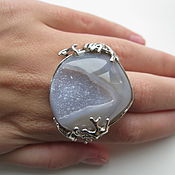 Украшения handmade. Livemaster - original item Large ring with agate drosou. 925 sterling silver PR. Handmade.