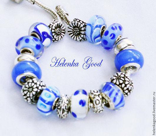 Очарование глубокого синего цвета в этом браслете стиля евро шарм, словно высокое небо будет радовать вас  и будить приятные воспоминания в ненастные дни!