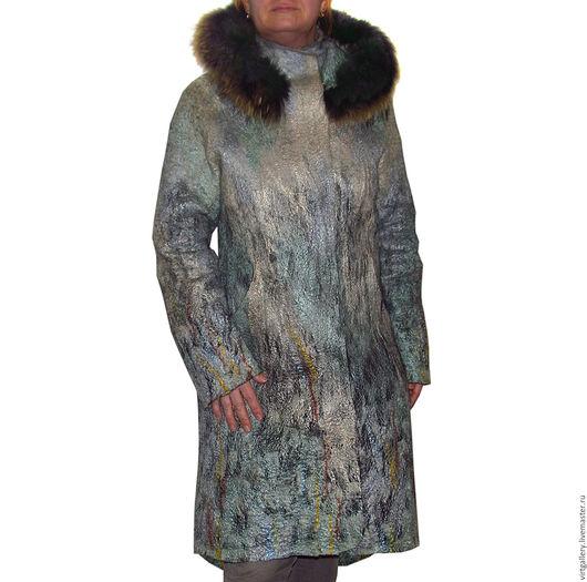 """Верхняя одежда ручной работы. Ярмарка Мастеров - ручная работа. Купить Валяное пальто с капюшоном """"Водопад"""". Handmade. Серый"""