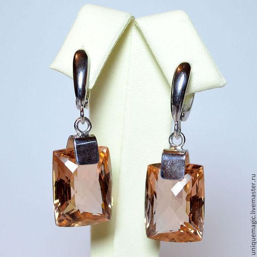 Элегантные серебряные серьги с крупными нежными цитринами!