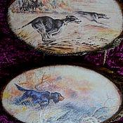 """Картины и панно ручной работы. Ярмарка Мастеров - ручная работа Панно """"Охотничьи собаки"""". Handmade."""