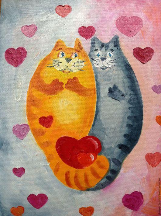 Животные ручной работы. Ярмарка Мастеров - ручная работа. Купить Влюбленные коты. Handmade. Розовый, кот, коты, день валентина