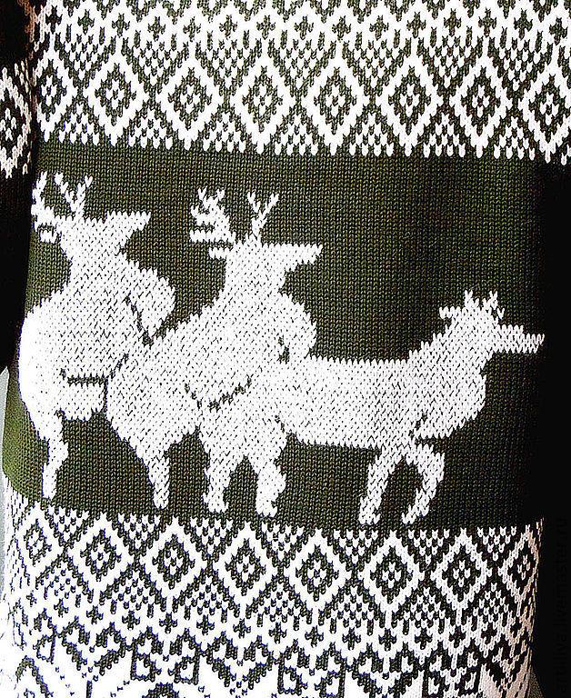 Вязанный орнамент из оленей 133