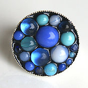 Украшения handmade. Livemaster - original item Ring Bubbles blue color. Handmade.