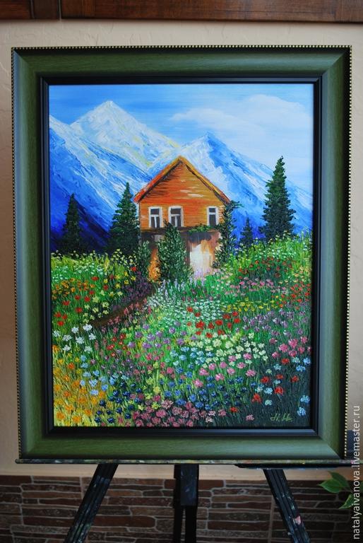 """Пейзаж ручной работы. Ярмарка Мастеров - ручная работа. Купить Картина маслом """"Лето в горах"""" с багетом. Handmade. Разноцветный, солнце"""