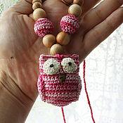 "Одежда handmade. Livemaster - original item Crochet Nursing Teething  Necklace ""Pink owl"". Handmade."