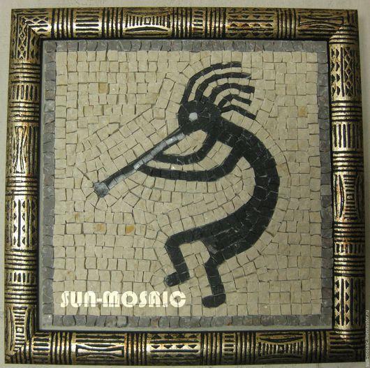 """Дизайн интерьеров ручной работы. Ярмарка Мастеров - ручная работа. Купить Мозаичное панно """"Танцор с флейтой"""" 20х20 см. Handmade."""