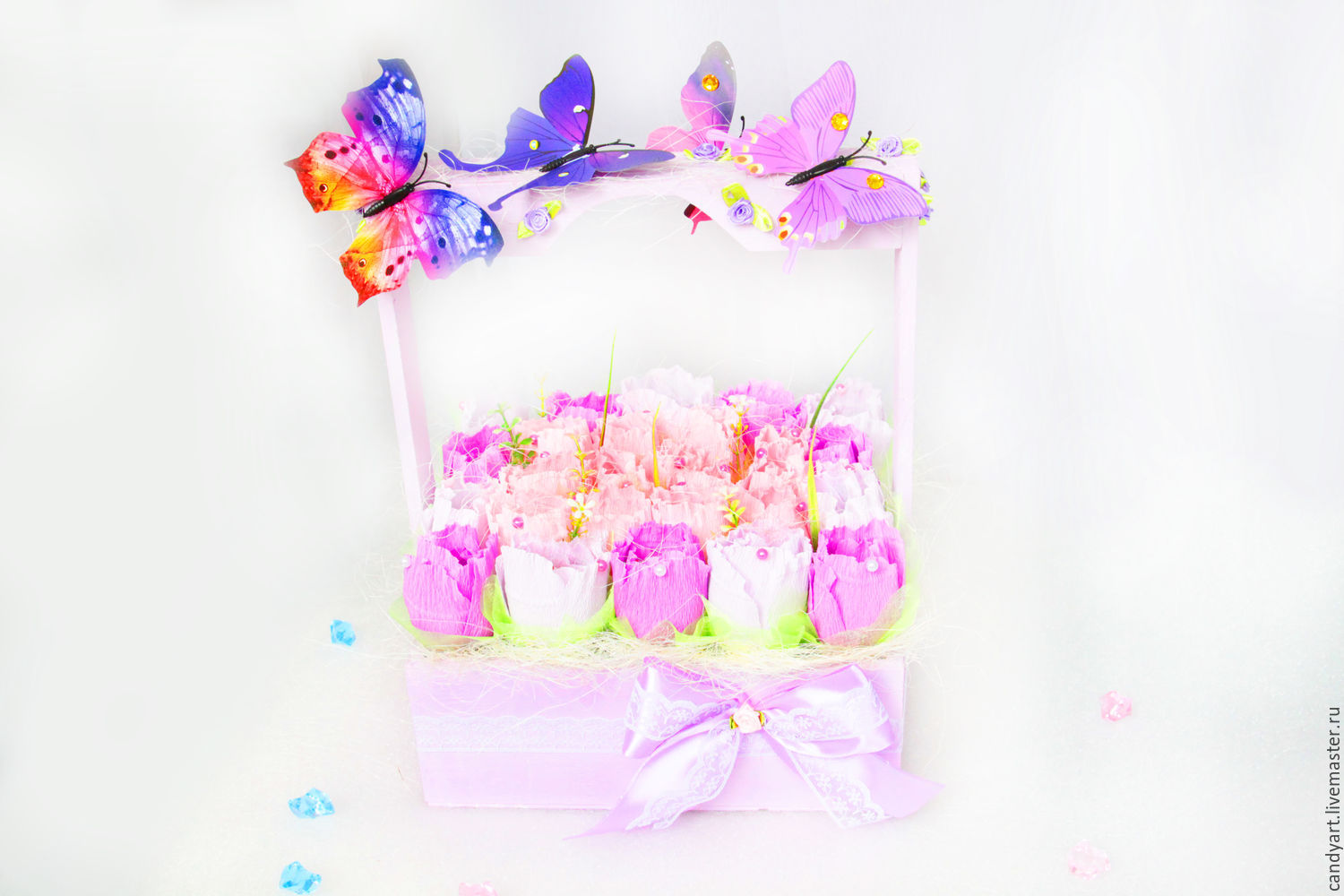 Flowers of sweets in a wooden box a bouquet of flowers as a gift handmade flowers of sweets in a wooden box a bouquet of flowers as a izmirmasajfo