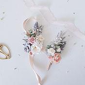Браслеты ручной работы. Ярмарка Мастеров - ручная работа Браслет с цветами Pale Gray. Handmade.