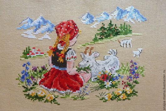 Девочка с козой. Альпийские луга.