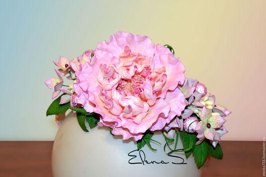 Диадемы, обручи ручной работы. Ярмарка Мастеров - ручная работа. Купить Роза Санрайз с гортензиями. Handmade. Розовый, фоамиран