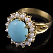 Украшения handmade. Livemaster - original item Ring in sterling silver with turquoise and pearls. Handmade.