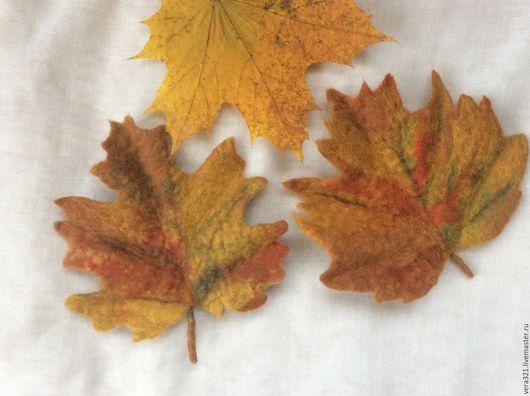 Брошь-осенний  кленовый лист. Эффектное украшение для верхней одежды.