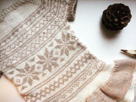 Одежда для девочек, ручной работы. Ярмарка Мастеров - ручная работа. Купить Платье с воланами из хлопка с шелком жаккард снежинки. Handmade.